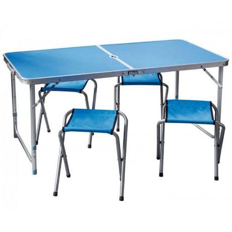 Стол раскладной для пикника 4 стула Синий