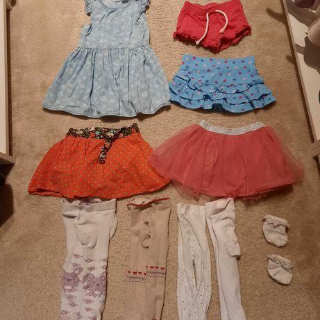 Sukienka spódnica rajstopki skarpetki spodenki 74, 80, 86