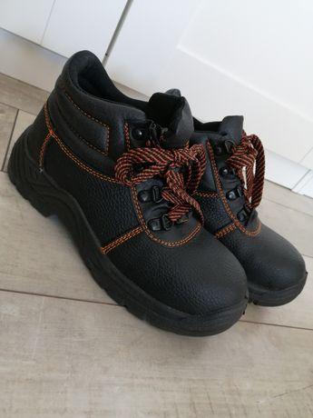 Buty robocze trzewiki skórzane z blachą 38