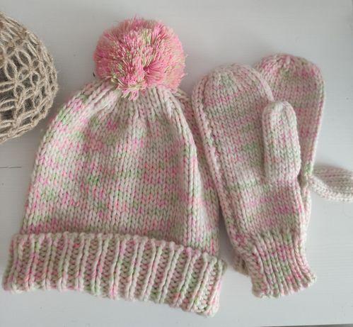 Czapka rękawiczki damskie dziewczęce komplet różowe
