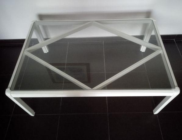 Mesa centro tampo em vidro