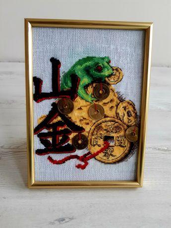 Денежная жаба картина вышитая/талісман/грошовий подарунок