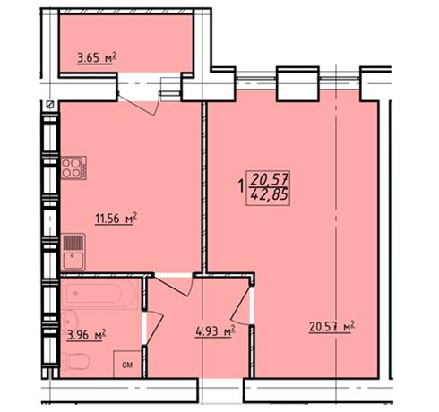 33000$ Реальная 1 ком квартира 43 м² в новострое ЖК Левада-2 C