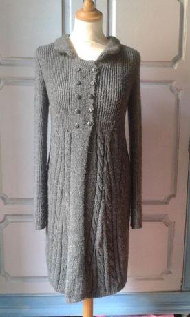 Casaco de malha comprido, cor cinza