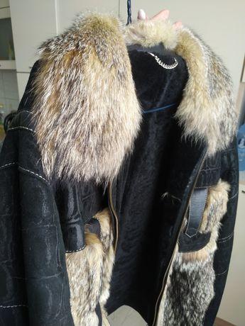 Шкіряна зимова дубльонка куртка чоловіча з хутром вовка