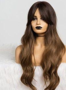 nowa PERUKA gęste długie włosy z grzywką ombre fale loki Brąz Blond