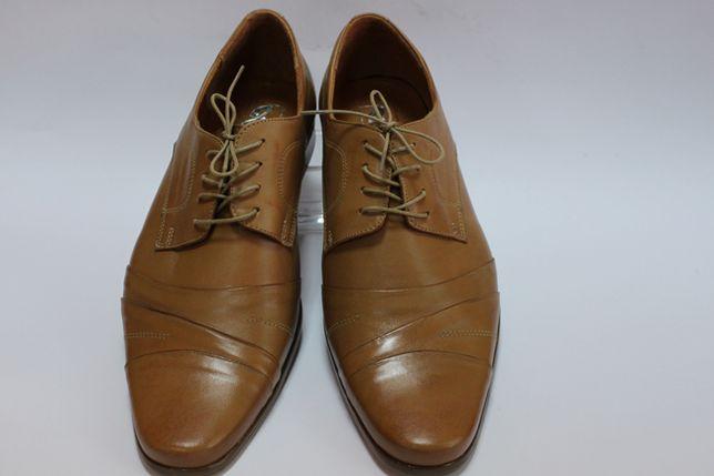 pantofle 100% skóra jasny brąz r.45