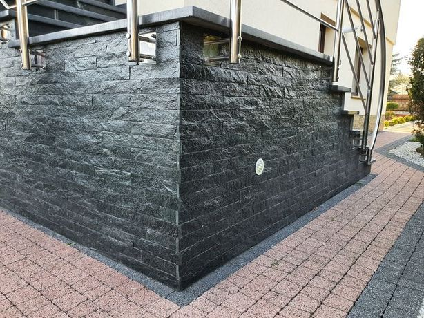 Paski kamienne RUK 25x5 czarne Kamień Elewacyjny Kamień dekoracyjny