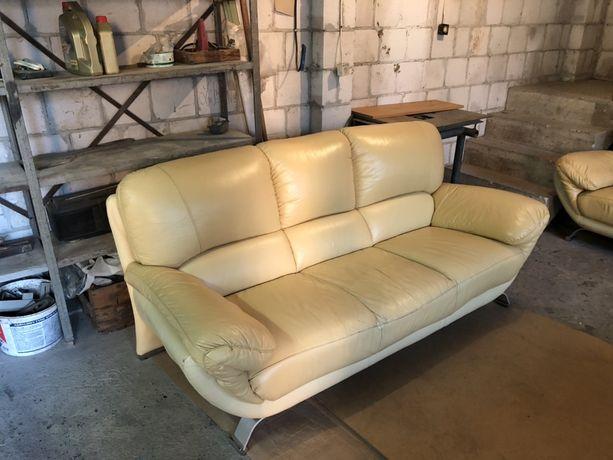 Zestaw sofa skóra i 2 fotele skórzane