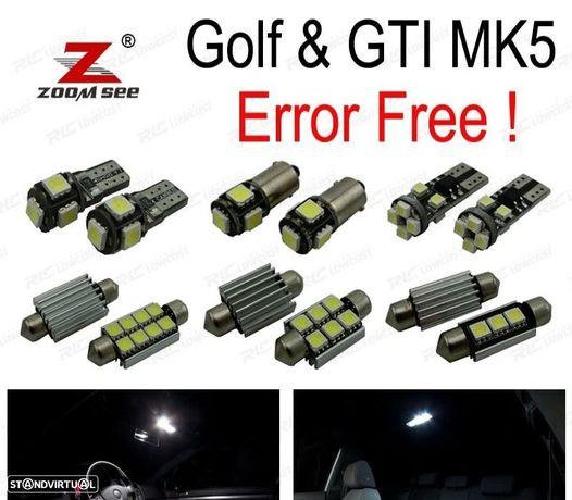 KIT COMPLETO DE 13 LÂMPADAS LED INTERIOR PARA VOLKSWAGEN GTI VW GOLF 5 MK5 MKV (2006-2009)