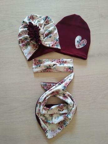 Zestaw wzór Newbie turban czapeczka chusta chusta opaska
