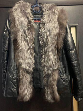 Курта из натуральной кожи с натуральным мехом. Теплая