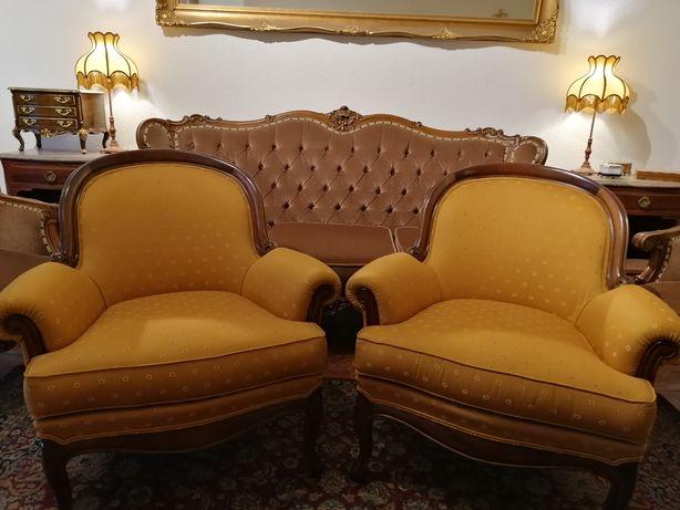 Par Clássicas Poltronas (Cadeirões Bergères Cadeiras braços) Luís XV