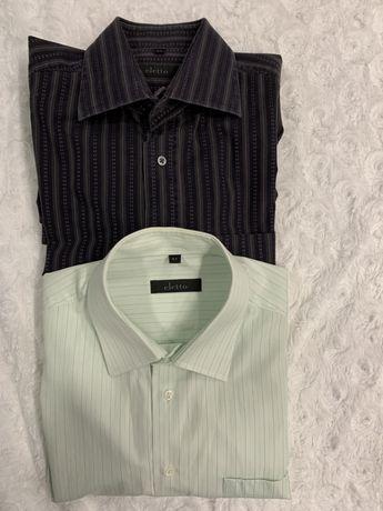 Koszula męska 2 szt. Eletto zielonkawa w paski i czarna w paski r41