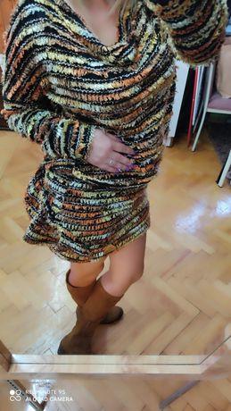 Piękna sukienka z dzianiny bardzo orginalny wygląd s m l