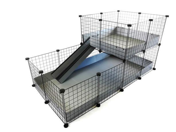 Piętrowa klatka modułowa C&C 145x75 cm dla świnki morskiej królika