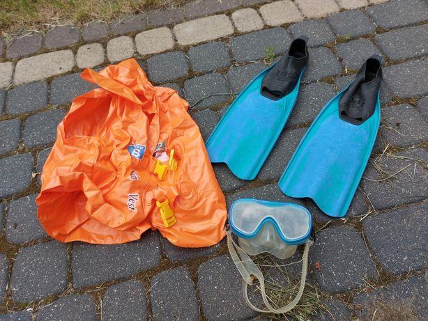 Płetwy roz 30 - 32, maska, kamizelka do pływania