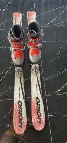 Narty 100 cm z wiązaniami +buty narciarskie włoskie regulowane