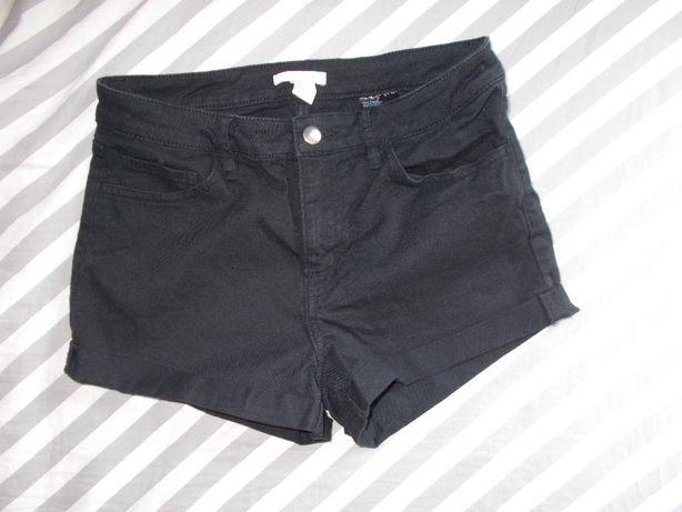 H&M nowe,czarne szorty S 36 spodenki krótkie jeansowe