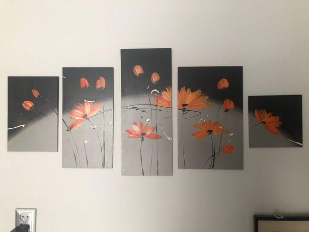 Obraz 5 częściowy pomarańczowe kwiaty