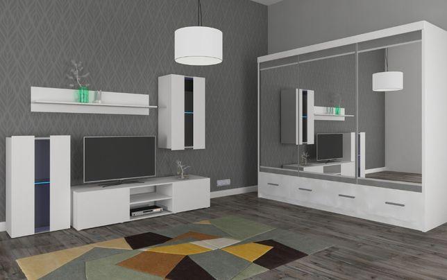Nowy zestaw 2 meblościanka + szafa Margo 250 cm biały szuflady LED