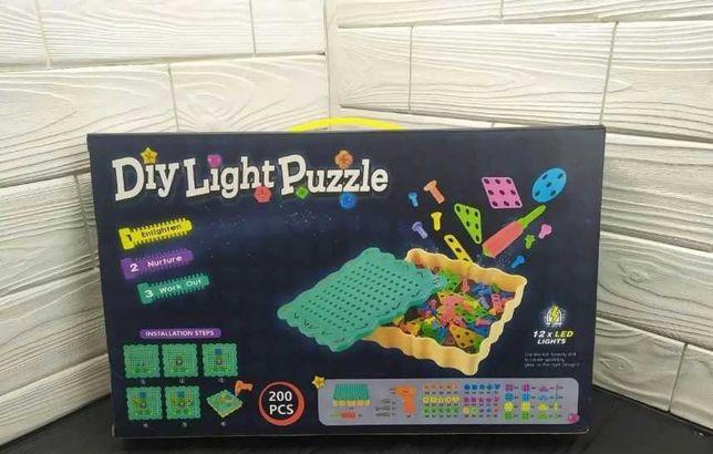 Большой Конструктор на 200 деталей Diy Puzzle Light - мозайка Новый