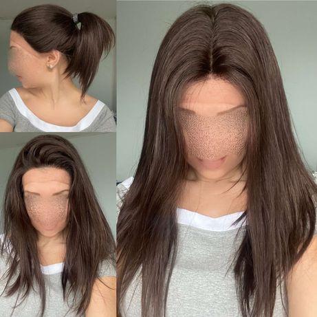 Натуральный парик детский славянский волос темно русый имитация кожи