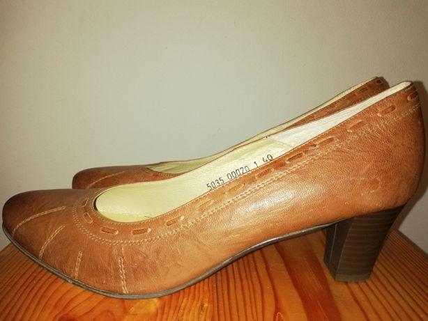 Skórzane brązowe pantofle, skóra naturalna, rozm. 40 obcas 5,5 cm