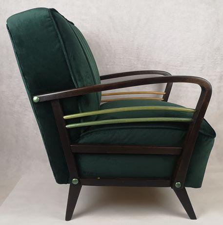 Fotel niemiecki profilia zielony dąb, żywica epoksydowa lata 60