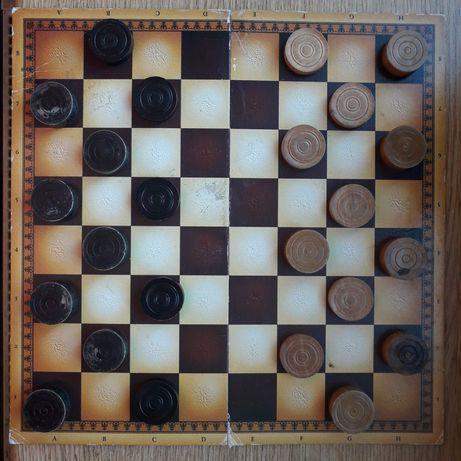 Деревянные шашки + нарды настольная игра
