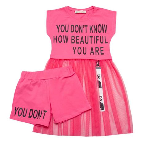 Комплект для девочки, платье с фатином и с шортами.