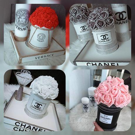 Flower box Chanel Versace Glamour róże piankowe cyrkonie Swarovski