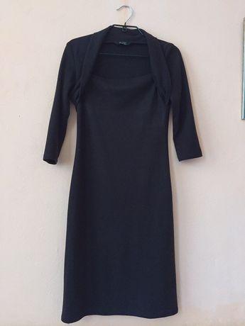 Тёплое коричневое платье с рукавом 3/4