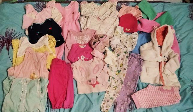 Пакет вещей для девочки 3-6 мес человечек, штаны, кофта тапки шапка