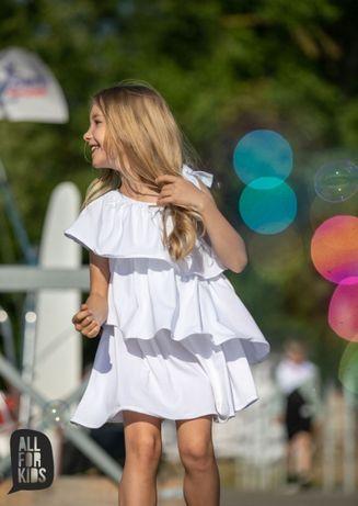 All for Kids sukienka asymetryczna biała z falbankami