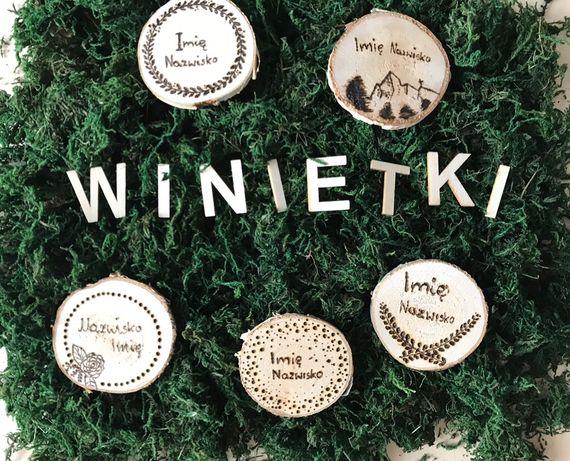 Winietki drewniane wypalane- personalizowane ślub/ przyjęcie