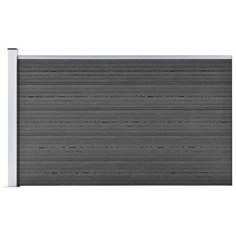 vidaXL Painel de vedação WPC 175x105 cm preto 148976