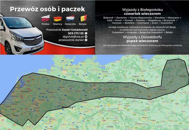 Przewóz osób i Transport paczek Niemcy, Belgia, Holandia Ełk Białystok