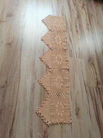 Zazdrostka firana handmade brzoskwiniowa styl góralski szydelko ażur