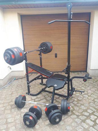 Siłownia domowa 147.5kg obciążenia hop-sport zestaw do ćwiczeń gryf