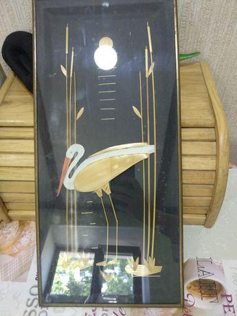 Панно декоративное из соломки Аисты, картина Аісти