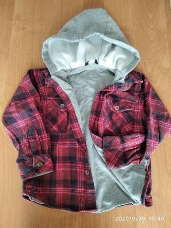 110-116 koszula flanelowa z podszewką i kapturem