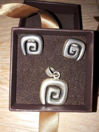 Na prezent Kruk Komplet srebrny kolczyki zawieszka 925
