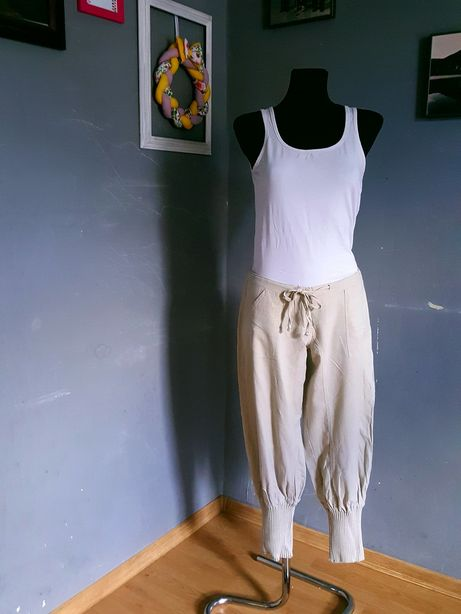 Vila!Lniane beżowe spodnie/haremki r.M! Len!