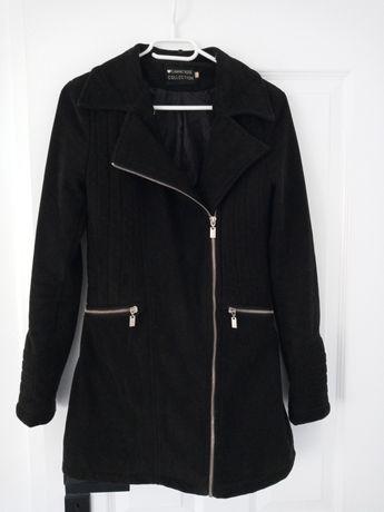 Płaszcz czarny zamszowy na zamek rozmiar S 36