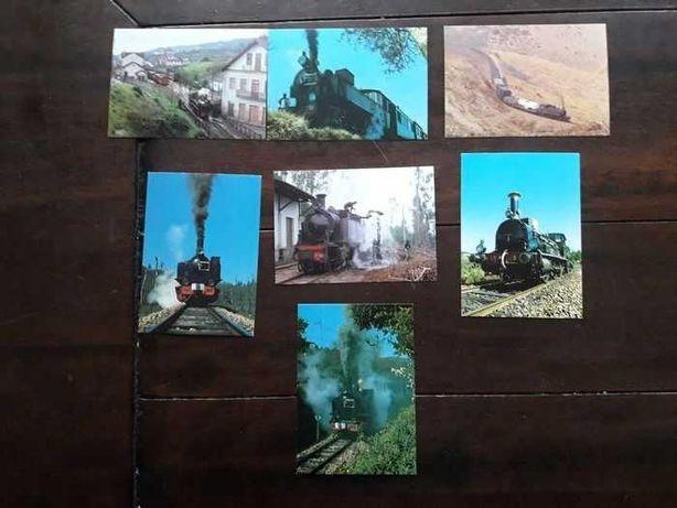 Magnifica e Rara Coleção com 126 postais Comboios Portugal