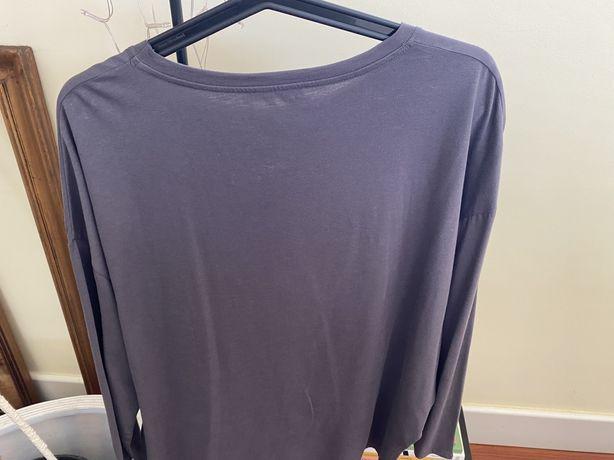 Camisola larga Zara cinza malha fina
