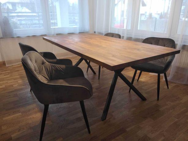 Stół dębowy 4x180x100 4 tapicerowane krzesła