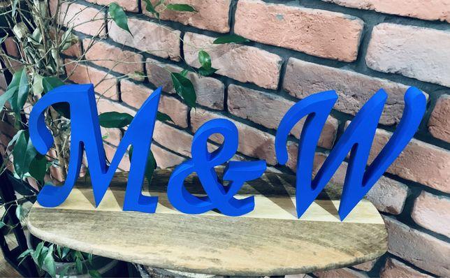 Drewniane litery 3D na stół inicjały weselne Państwa Młodych