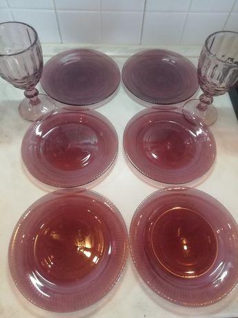 Набір посуду 6 тарілок і 2 бокала люмінарк, luminarc lilac